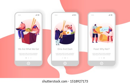 Asian Food Mobile App Page Onboard Screen Set. Tiny Male and Female Characters Eating Noodles in Box, Vegetables and Wish Cookie, Meal Concept for Website or Web Page. Cartoon Flat Vector Illustration