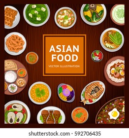 Asian food. National dishes on a wooden background. Vector flat illustration.