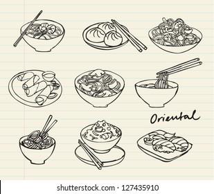 Asian food set doodle illustration