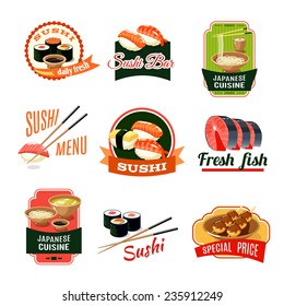 Asian food sushi bar japanese cuisine fresh fish labels set isolated vector illustration
