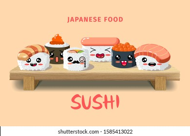 Asian food sushi on wooden board. Sushi illustration with trout fish, salmon and caviar in flat minimalist style.  Restaurant vector illustration. Japanese cuisine menu, asian food. Kawaii emoji.