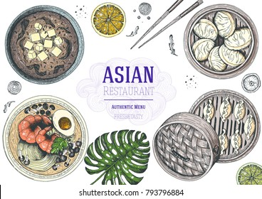 Asian food top view. Asian cuisine menu design template. Cartoon style. Colored dish set. EPS 10