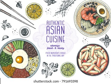 Asian food top view. Korean food menu restaurant. Cartoon style. Colored design template. EPS 10