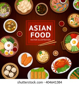 Asian food. Traditional national dishes on a wooden background. Vector illustration. Banner, menu. Flat design. Asian cuisine. Eps10.