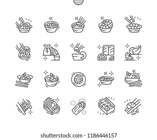 Asian food Well-crafted Pixel Perfect Vector Thin Line Icons 30 2x Grid for Web Graphics and Apps. Simple Minimal Pictogram