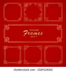 Asian frame set in vintage style on red background. Traditional chinese ornaments for your design. Vector golden japanese pattern. Artwork graphic, asian culture decoration