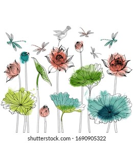 Asian garden background. Vector set of asian flora and fauna: fish, hummingbird, lotus and magnolia flowers