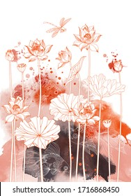 Asian garden. Hand drawn sketch and watercolor illustration of lotus flower and japan fish
