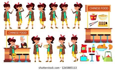 Asian Girl Kid Poses Set Vector. Child. Classic Restaurant, Takeaway Food. Suchi, Rolls, Spaghetti. For Presentation, Print, Invitation Design. Isolated Cartoon Illustration