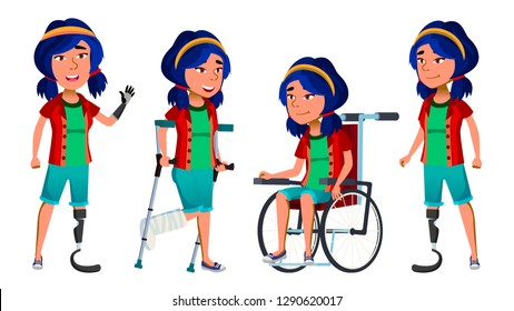 Asian Girl Kid Poses Set Vector. High School Child. Disabled. Wheelchair. Amputation Prosthesis. For Banner, Flyer, Web Design. Isolated Cartoon Illustration
