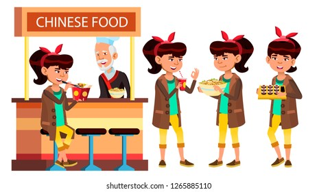 Asian Girl Set Vector. Classic Restaurant, Takeaway Food. Suchi, Rolls, Spaghetti. For Cover, Placard Design. Isolated Cartoon Illustration