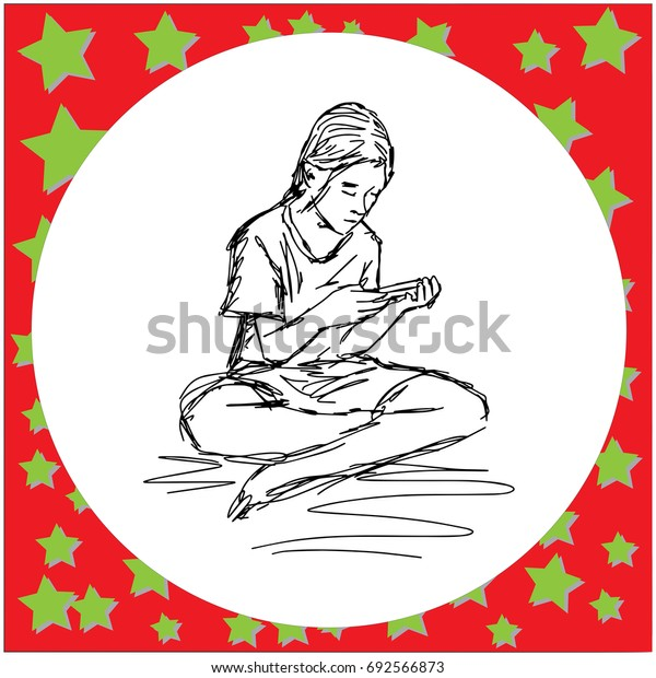 asian girl using smartphone vector illustration sketch hand drawn with black lines, isolated on white background