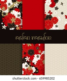 Asian golden patterns set with red sakura and ornaments, japanese seamless patterns for traditional fabric, festive dress design in red, black and gold flowers in blossom, vector illustration