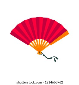 Asian hand fan isolated on white background. Elements for your design works. Folding fan. Flat style vector illustration.
