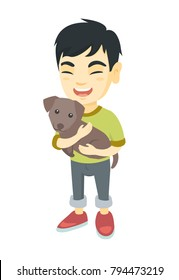 Asian happy smiling boy  holding a small dog. Full length of cheerful little boy with a dog in his hands. Vector sketch cartoon illustration isolated on white background.