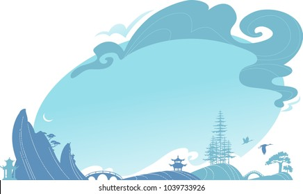 Asian horizontal traditional landscape with hills, bridge and clouds.