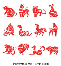 Asian horoscope, chinese zodiac signs decorated with flowers. Floral rat and bull, tiger and rabbit, snake and dragon, horse and goat, monkey and rooster, dog and pig isolated. Vector in flat style