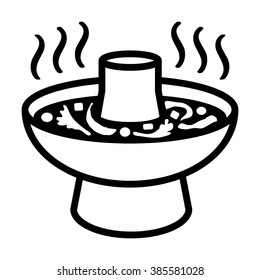 Asian hotpot / hot pot or steamboat line art vector icon for food apps and websites