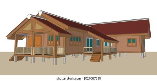 Asian House design, Thailand, Vector & Illustration, image 4