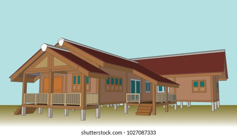 Asian House, Thailand, Vector & Illustration, image 1