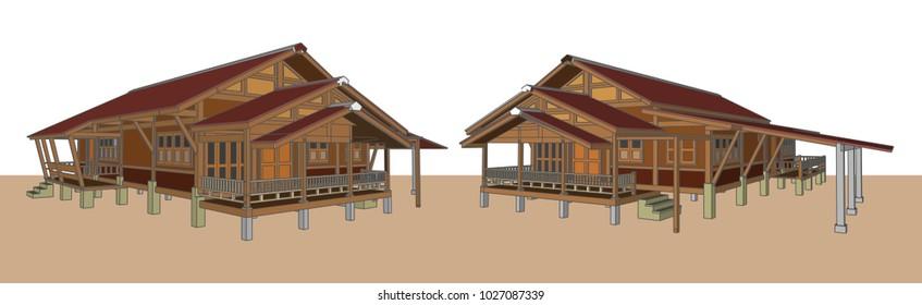 Asian House, Thailand, Vector & Illustration, image 3