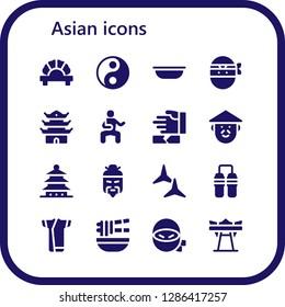 asian icon set. 16 filled asian icons. Simple modern icons about  - Dumpling, Yin yang, Bowl, Ninja, Pagoda, Martial arts, Chinese, Shuriken, Nunchaku, Kimono, Noodle, Giant swing