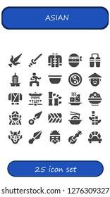 asian icon set. 25 filled asian icons. Simple modern icons about  - Martial arts, Katana, Wushu, Ninja, Nunchaku, Pagoda, Bowl, Yin yang, Chinese, Bamboo, Tofu, Rice, Kunai, Plait