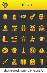 asian icon set. 26 filled asian icons.  Collection Of - Chinese, Hannya, Pagoda, Plait, Veena, Ninja, Nunchaku, Kendo, Samurai, Sake, Noodle, Giant swing, Martial arts, Noodles