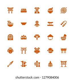 asian icon set. Collection of 25 filled asian icons included Torii, Buddha, Bamboo, Kunai, Torii gate, Blowfish, Chinese, Japanese, Bowl, Kasa, Paper fan, Angkor wat, Arab woman
