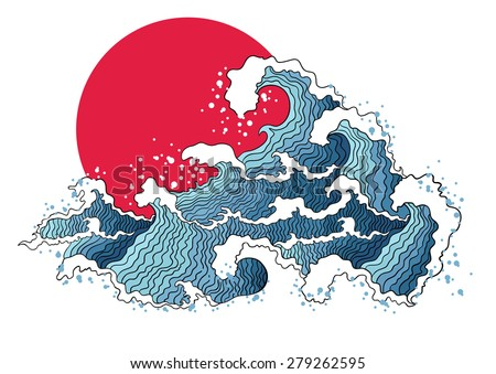 Asian illustration of ocean waves and sun. Isolated on a white background.