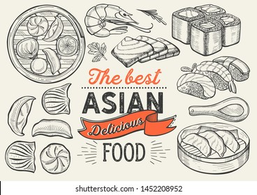 Asian illustrations - sushi, dim sum, noodle, gyoza for chinese restaurant. Vector hand drawn poster for japanese cafe and bar. Design with lettering and doodle vintage graphic.
