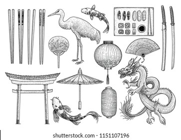 Asian, Japanese, Chinese collection, illustration, drawing, engraving, ink, line art, vector