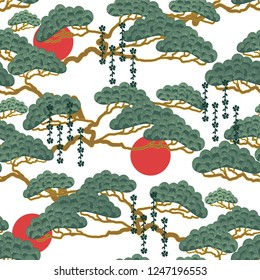 Asian, Japanese pattern with storks, bonsai and red sun