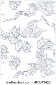 Asian Japanese tradition pattern. A4 format blank with decorative pattern in blue colors. Vector illustration.