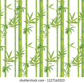 Asian jungle plant bamboo branches with leaves pattern design background.