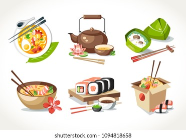Asian kitchen food laksa soup tea pot ceremony zongzi sushi noodles chinese japanese thai dishes
