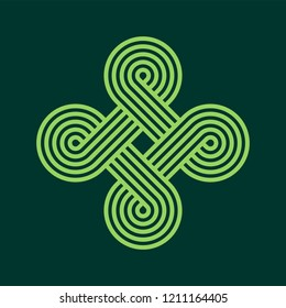 Asian Knot Vector Illustration. Twisted lines. Intertwined pattern. Geometric design. Abstract cloverleaf shape.
