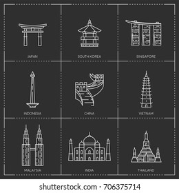 Asian landmarks. The collection include Japan, South Korea, Singapore, Indonesia, China, Vietnam, Malaysia, India and Thailand famous buildings and monuments.