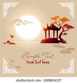 Asian Landscape background with pavilion, sunset and lake. Vector.