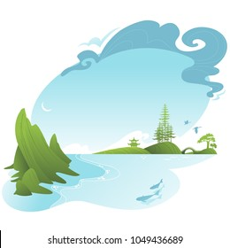 Asian landscape with lake and mountain. Vector silhouette.