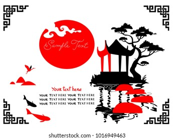 Asian Landscape with traditional architecture. Black and red.