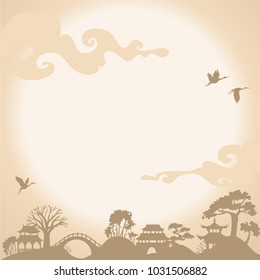 Asian Landscape with traditional architecture, sunset, crane and lake. Vector background.