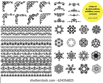 Asian large set of patterns and ornaments. Set of seamless borders, beautiful angles, medallions.Oriental, floral designs, brush sets for design.