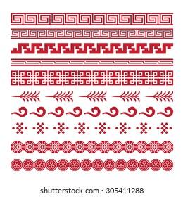 asian lattice ornaments, chinese, japanese, korean vector set