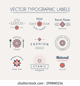 Asian logos templates set. Vector typographic labels