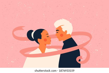 Asian loving couple. Man and woman kissing. Wedding and marriage concept. Greeting card for Valentine's Day. Flat style. All objects are isolated.