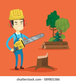 Asian lumberjack holding chainsaw. Lumberjack in workwear, hard hat and headphones standing at the forest near stump. Young lumberjack chopping wood. Vector flat design illustration. Square layout.