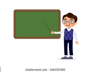 Asian male teacher standing near blackboard flat vector illustration. Smiling tutor pointing at blank chalkboard in classroom cartoon character. Educational process. School lesson, tutor explaining ta