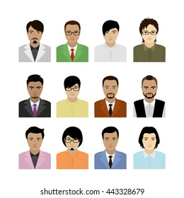 Asian man avatar. Faces and hair styles, isolated on white background, vector stock illustration