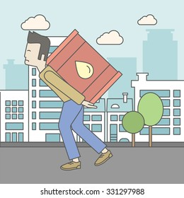 An asian man carrying an oil can on city background. Vector line design illustration. Square layout.